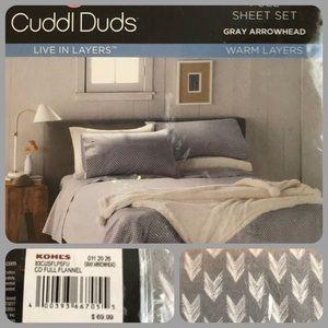 Flannel Sheet Set Gray Arrowhead NWT cuddle Duds